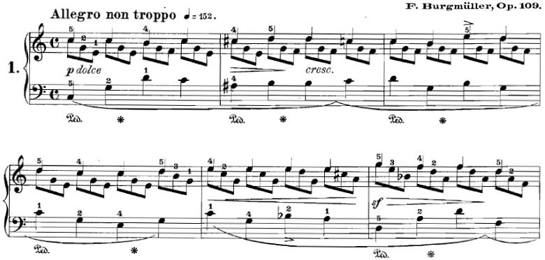 ブルグミュラー「18の練習曲第1番「内緒話」Op.109-1」ピアノ楽譜