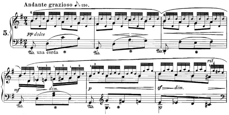 ブルグミュラー「18の練習曲第5番「泉」Op.109-5」ピアノ楽譜