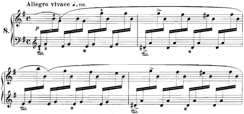 ブルグミュラー「18の練習曲第8番「アジタート」Op.109-8」ピアノ楽譜