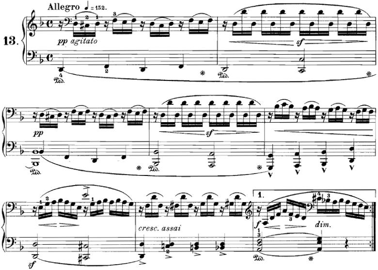 ブルグミュラー「18の練習曲第13番「大雷雨」Op.109-13」ピアノ楽譜