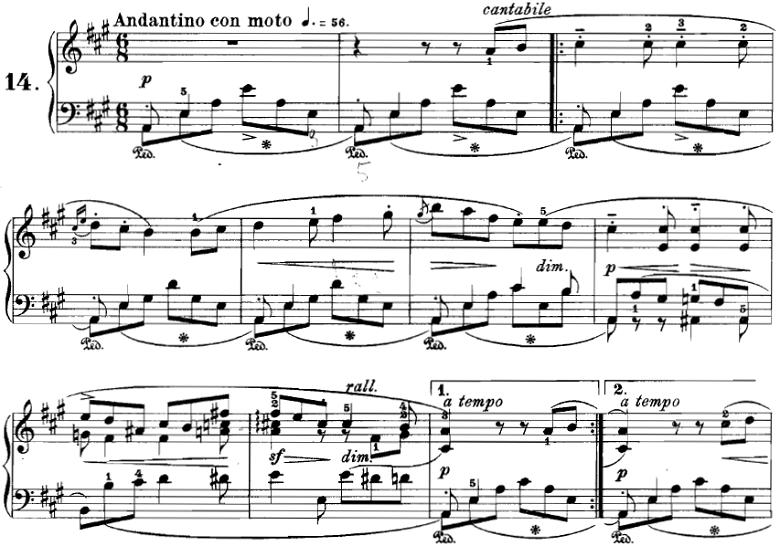 ブルグミュラー「18の練習曲第14番「ゴンドラの船頭歌」Op.109-14」ピアノ楽譜