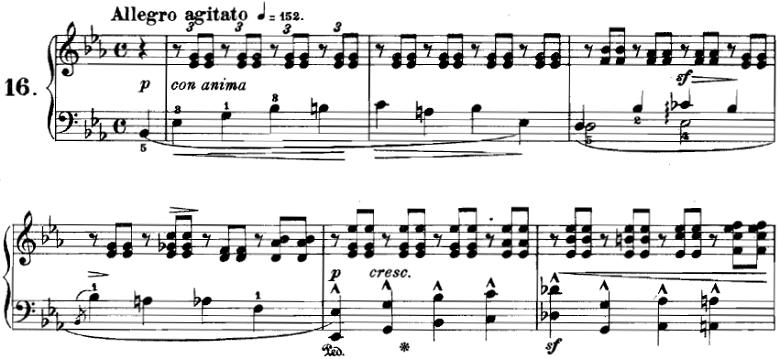 ブルグミュラー「18の練習曲第16番「わかれ」Op.109-16」ピアノ楽譜