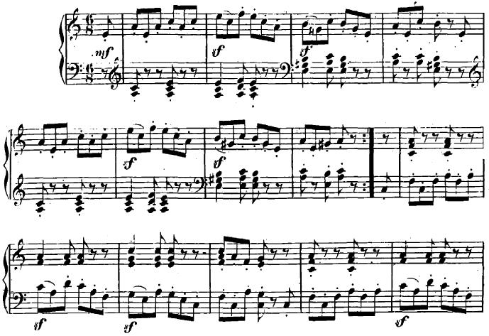 シューマン「ユーゲントアルバム(子供のためのアルバム)8「乱暴な騎手」」ピアノ楽譜