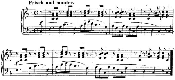 シューマン「ユーゲントアルバム(子供のためのアルバム)10「楽しき農夫」」ピアノ楽譜1