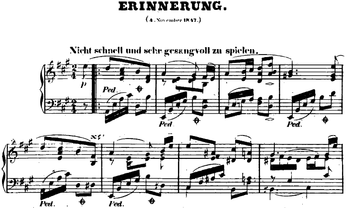 シューマン「ユーゲントアルバム(子供のためのアルバム)28「追憶」」ピアノ楽譜