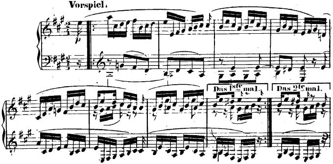シューマン「ユーゲントアルバム(子供のためのアルバム)40「小さなフーガ」」ピアノ楽譜1